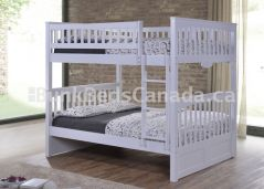 "Duncan Bunk Bed, Double over Double in White Finish, Straight ladder, 70"" Height, Solid Hardwood"