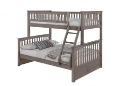 "Duncan Bunk Bed, Single over Double in Grey Finish, Angle ladder, 70"" Height, Solid Hardwood"