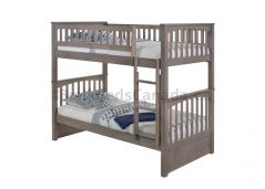 "Duncan Bunk Bed, Single over Single in Grey Finish, Straight ladder, 70"" Height, Solid Hardwood"