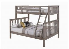 "Nootka Bunk Bed, Twin over Full in Grey Finish with Angle Ladder, 69"" Height, Made of Hardwood"