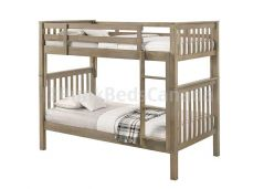 Nootka Bunk Bed with Mattresses in Grey Finish, Single over Single