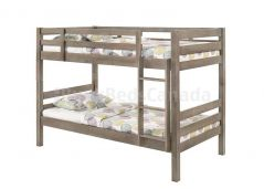 "Sooke Bunk Bed, Solid Wood, Single over Single, in Grey Finish, Stright Ladder, 61"" Height."