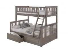 Solid Wood Bunk Bed w 2 Drawers - Duncan - Single over Double - Grey