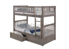 Solid Wood Bunk Bed w 2 Drawers - Duncan - Single over Single - Grey