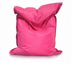 Image of a Large Bean Bag Chair in Fuchsia or Pink Color in modern rectangular shape, fatboy style, by Bunk Beds Canada.