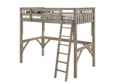 Solid Wood Loft Bed Frame - Nootka - Single - Grey