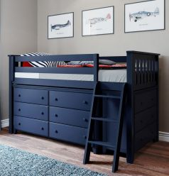 Solid Wood Loft Bed w Angle Ladder, 6 and 3 Drawers Dressers - All In One Design - Twin - Blue