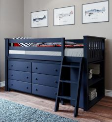 Solid Wood Loft Bed w Angle Ladder, 6 Drawers Dresser, Bookcase - All In One Design - Twin - Blue