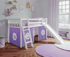 Solid Wood Loft Bed w Angle Ladder, Slide and Curtain - AIO Design - Single - Purple/White - White