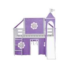Solid Wood Loft Bed w Angle Ladder, Slide, Top Tent, Tower and Curtain - AIO Design - Twin - Purple/White - White
