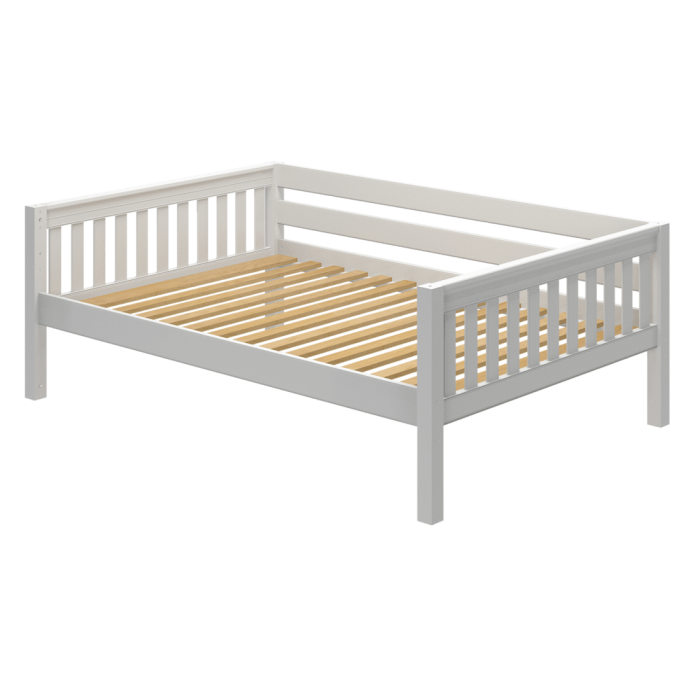 Solid Wood Daybed W Back Guard Rail, Queen Bed Frame With Guard Rails