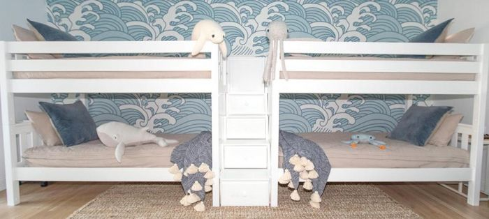 Quadruple Bunk Bed Single Xl Size White Finish Slatted Headboards 61h Staircase